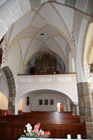 Zeillern, Pfarrkirche hl. Jakobus der Ältere, Blick in das Gewölbe der Staffelhalle