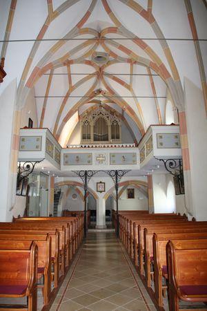 Randegg, Pfarrkirche hl. Maria Empfängnis, Blick Richtung Orgel, Rippennetzgewölbe, vor 1494